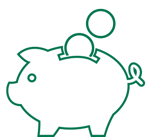 Icon of green piggy bank with a few coins.