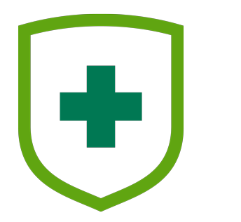 Icon of medical shield with plus sign.