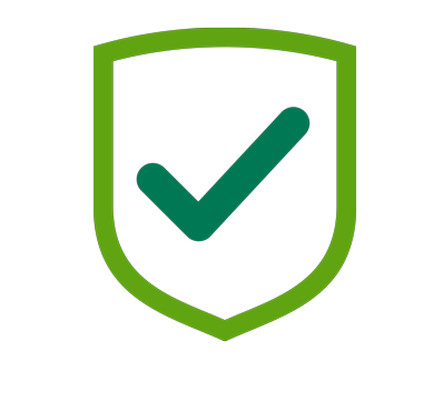 Icon of medical shield with check mark.