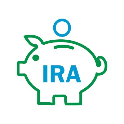 "icon of a piggy bank with ""IRA"" appearing on it with a coin being dropped in the slot on top."