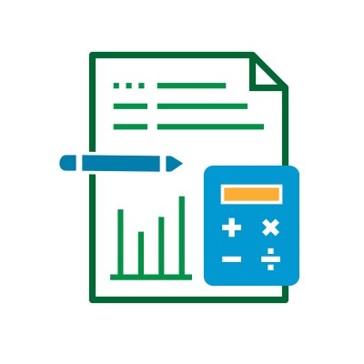 Icon of a document overlaid with a calculator