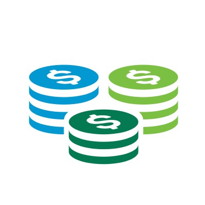 Icon of three stacks of coins with the dollar symbol on top of each stack