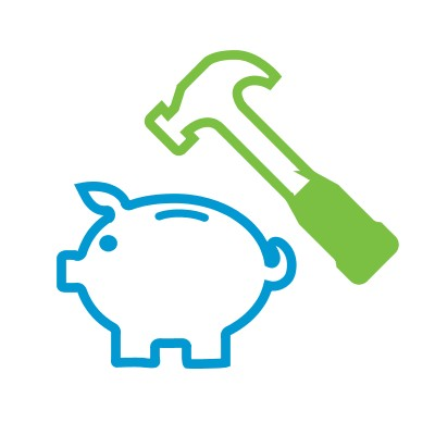 Icon of a hammer over a piggy bank